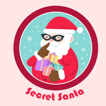 90762896 - cartoon secret santa on the pink background