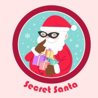 90762896 - cartoon secret santa on the pink background